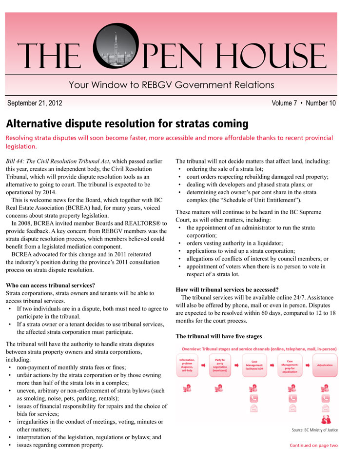 Alternative Dispute Resolution for Stratas Coming, September 21, 2012